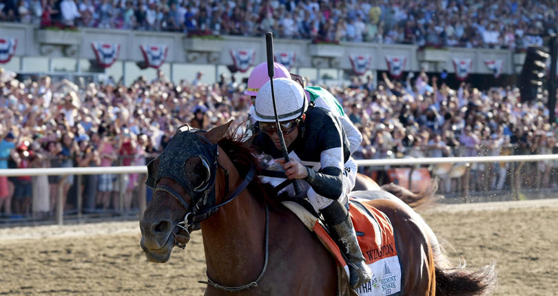 Sir Winston enjoys finest hour in surging to win G1 Belmont Stakes presented by NYRA Bets