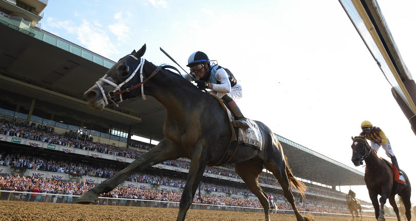 Tapwrit surges past favored Irish War Cry to win G1 Belmont Stakes